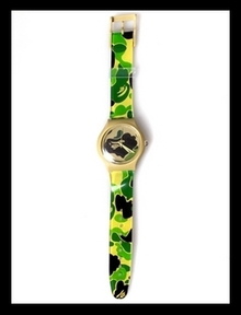 最后几个!A Bathing APE (bape) 迷彩手表swatch