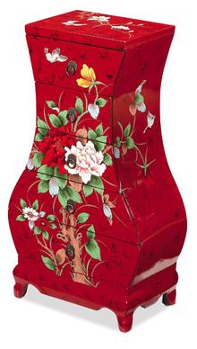 2013年最畅销新中式彩绘牡丹花五斗柜 置物柜 灯几 花几 手饰柜