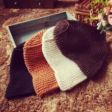新年礼物 粗线毛线帽定型加厚简约光面大沿针织帽子男女情侣