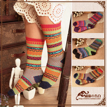 XW2023  森林系日单 森女北欧风 复古民族风提花中筒袜短袜堆堆袜