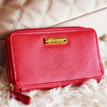 优质出口订单!日单。幸运的红色小皮夹。风琴卡位。零钱包卡包
