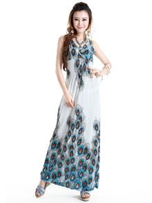 韩国新款孔雀印花图案拖地长裙 波西米亚沙滩 连衣裙V领雪纺女装