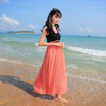 韩版女装新款莫代尔拼接雪纺连衣裙 2013夏季新款背带款百褶长裙