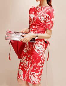 新品partysu 玫瑰印花修身连衣裙 复古旗袍一步裙 OL通勤一字领裙