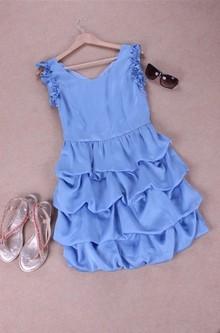 2013夏季新款 后背V领甜美木耳边袖子蛋糕裙 连衣裙 E01