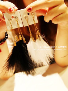Ruibao jewelry 波西米亚复古风夸张超仙羽毛 耳环