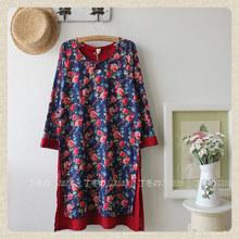 夏季新款复古民族风古典品质中袖盘扣印花假两件连衣裙子女装旗袍