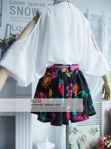 唯美风 复古花朵印花松紧腰百褶半身裙裤