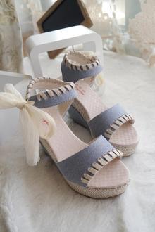 2013夏季新款 罗马风格防水台厚底凉鞋女包邮坡跟亚麻镂空鱼嘴鞋