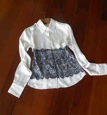 100%真丝外贸尾单女式长袖衬衫大牌断码特价白色桑蚕丝衬衫清仓
