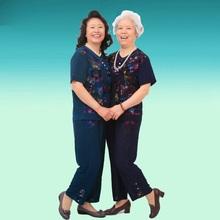 【折800独家优惠】中老年休闲仿真丝套装 大码时尚外婆奶奶家居服