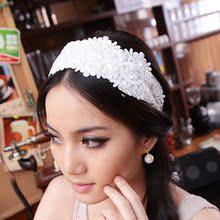 韩国进口面料花朵蕾丝发箍 韩版宽边 头箍发卡