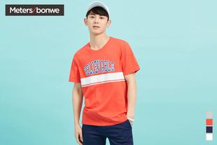美特斯邦威T恤男士2017夏装新款情侣款韩版宽松印花短袖T恤