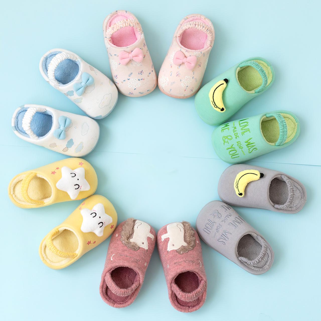 儿童棉拖鞋女童宝宝拖鞋冬1-3岁5防滑软底婴幼儿室内家居鞋男童秋