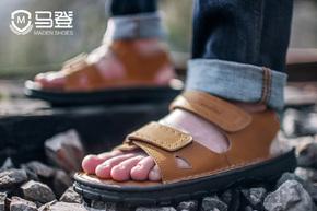 【初夏上新】夏季男士凉鞋真皮2017新款魔术贴透气凉鞋
