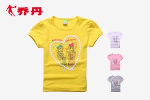 乔丹童装女童T恤大童女装夏装儿童短袖T恤圆领卡通潮