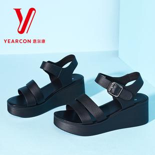 意尔康女鞋2017新款女士凉鞋防水台厚底坡跟真皮凉鞋