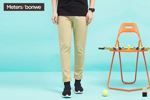 美特斯邦威休闲长裤男士夏装小脚弹力舒适纯色青年裤装韩版潮流