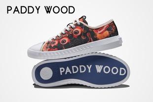 【民族风 个性图案】paddywood2017仓央嘉措系列作品真皮拼接低帮图腾系带帆布男鞋黑