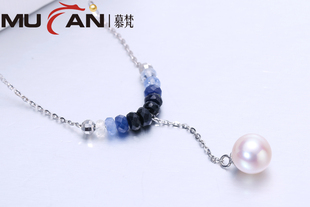 [送珍珠耳钉][聚划算新品专享]精选优质淡水珍珠项链吊坠配蓝宝石 正品 S925银锁骨链