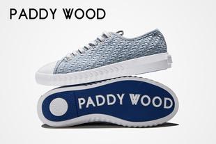 paddywood2017仓央嘉措系列作品真皮拼接低帮编织系带帆布男鞋