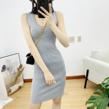 Suspender vest skirt women's new mid long sleeveless slim knit dress in spring and summer