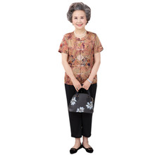 Grandma's summer suit middle-aged and elderly women's cotton silk short sleeve wife's top 60 years old 70 years old